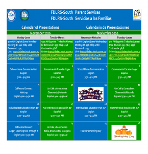 FDLRS November Calendar of Virtual Sessions for Parents